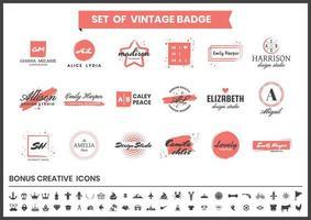 set di logo blogger, studio e designer di moda rosso e bianco