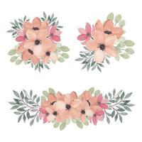 insieme dell'acquerello della raccolta floreale rosa di disposizione