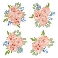 insieme dell'acquerello del mazzo del fiore di rosa