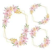 cornice floreale rustica dell'acquerello con set di fiori di giglio