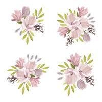 insieme dell'acquerello del mazzo del fiore della magnolia di primavera