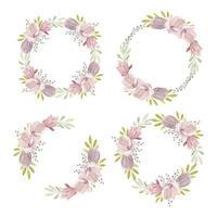 corona floreale dell'acquerello con collezione primavera magnolia