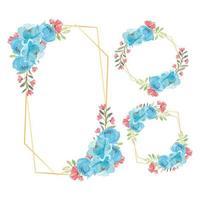 set di fiori di peonia blu dell'acquerello cornice floreale rustico vettore