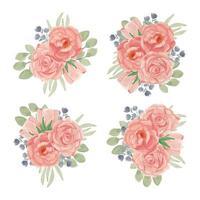 collezione di bouquet di fiori rosa pesca in set stile acquerello vettore