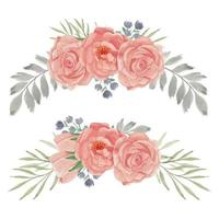 insieme di disposizione curva fiore rosa pesca dipinta a mano