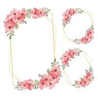cornice di fiori ad acquerello con set di fiori di ciliegio vettore