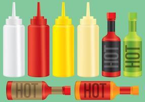 Bottiglie di salsa e condimento vettore