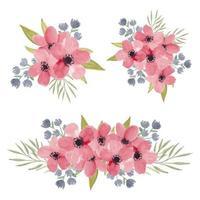 collezione di bouquet di fiori di ciliegio ad acquerello