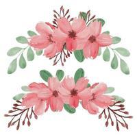insieme di disposizione dei fiori di ciliegio primavera dipinto a mano vettore