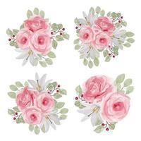 collezione acquerello fiore rosa in colore rosa