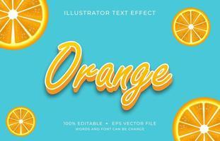 carattere arancione con lettere maiuscole effetto testo vettore
