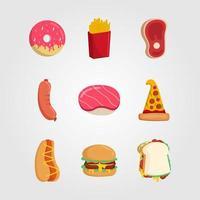set di stile piano di icone di fast food vettore