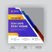 modello di banner di prevenzione del virus geometrico viola e giallo