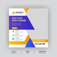 banner di prevenzione dei virus per i social media
