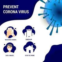 prevenire il diagramma di coronavirus vettore
