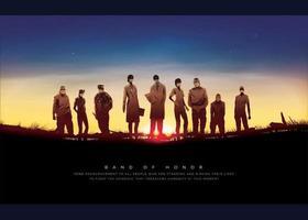 poster illustrato con equipe medica davanti al sole