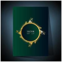 poster verde con cornice circolare in oro e splatter