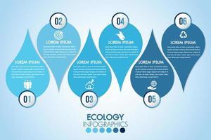 goccia di acqua blu ecologia infografica vettore