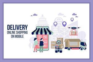 pagina di consegna online mobile in stile piatto vettore