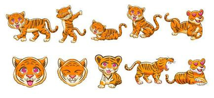 set di cartoni animati di tigre kawaii vettore