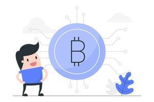 uomo di cartone animato con grande bitcoin
