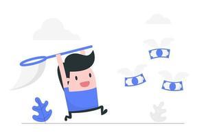 uomo di cartone animato con rete a caccia di soldi