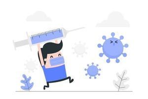 uomo di cartone animato con vaccinazione contro il coronavirus