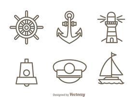 Set di icone di contorno nautico vettore