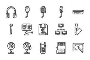 computer ed icone degli elementi elettronici vettore