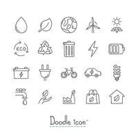 set di icone di doodle ecologia vettore