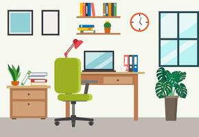 ufficio a casa in stile cartone animato piatto