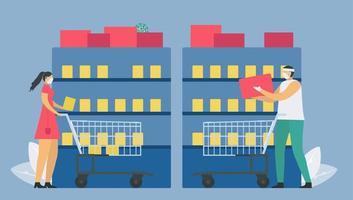 allontanamento sociale nel supermercato vettore
