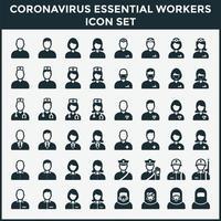 coronavirus set di icone di lavoratori essenziali