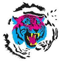 disegno della testa di tigre cmyk vettore