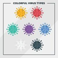 set di elementi colorati coronavirus