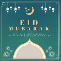 eid mubarak card con luna e lanterne