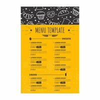 menu da forno con scarabocchi bianchi vettore