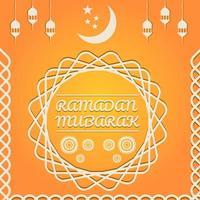 carta ramadan mubarak arancione con spirali di diamante vettore