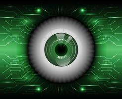 bulbo oculare su sfondo di circuito incandescente
