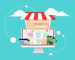 design del negozio online in stile piatto vettore