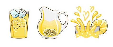 set di bevande alla limonata vettore
