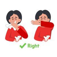 covid-19 consapevolezza tosse al gomito o starnuti vettore