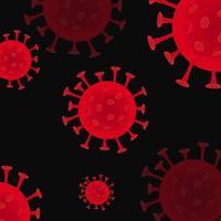 coronavirus rosso su sfondo nero vettore