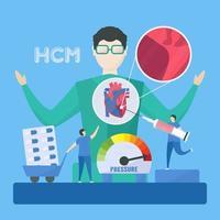 cardiologia concetto medico di cardiomiopatia ipertrofica vettore