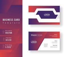 modello di biglietto da visita di forma geometrica viola e rosso
