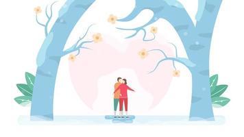 coppia pattinaggio su ghiaccio sotto grandi alberi