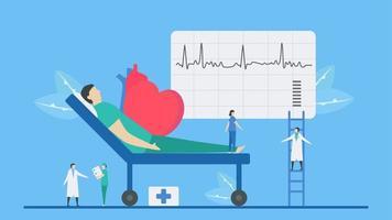 concetto di aritmia con paziente che riceve esame vettore