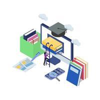 maschio si arrampica pila di libri nel computer con scala