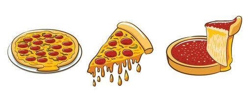 set di varie pizze vettore