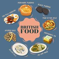 poster di cibo britannico dei cartoni animati